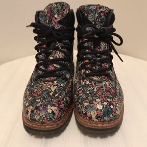 Tabitha Simmons Bexley Floral Print Combat Boots